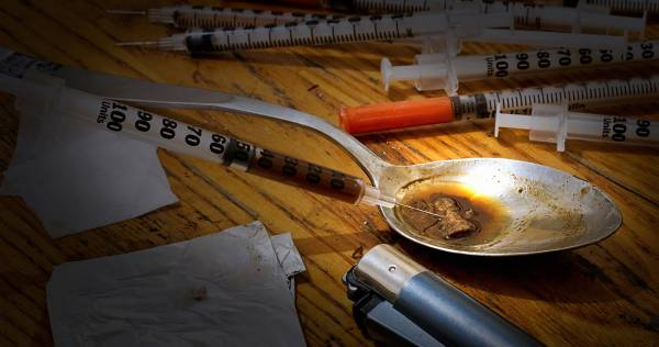 Drugs paraphenalia needed to make up a hit or injection of heroine. Opium is a popular recreational drug abused around the world and resulting in many users developing a drug addiction problem and having to seek rehabilitation treatment.